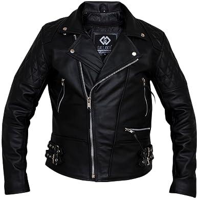 Classic Diamond Biker Motorcycle Leather Jacket: Amazon.co.uk ...