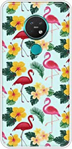 Okteq Clear TPU Protection and Hybrid Rigid Clear Back Cover Case Printed Compatible with Nokia 6.2 and Nokia 7.2 - pink flamingo and yellow roses By Okteq