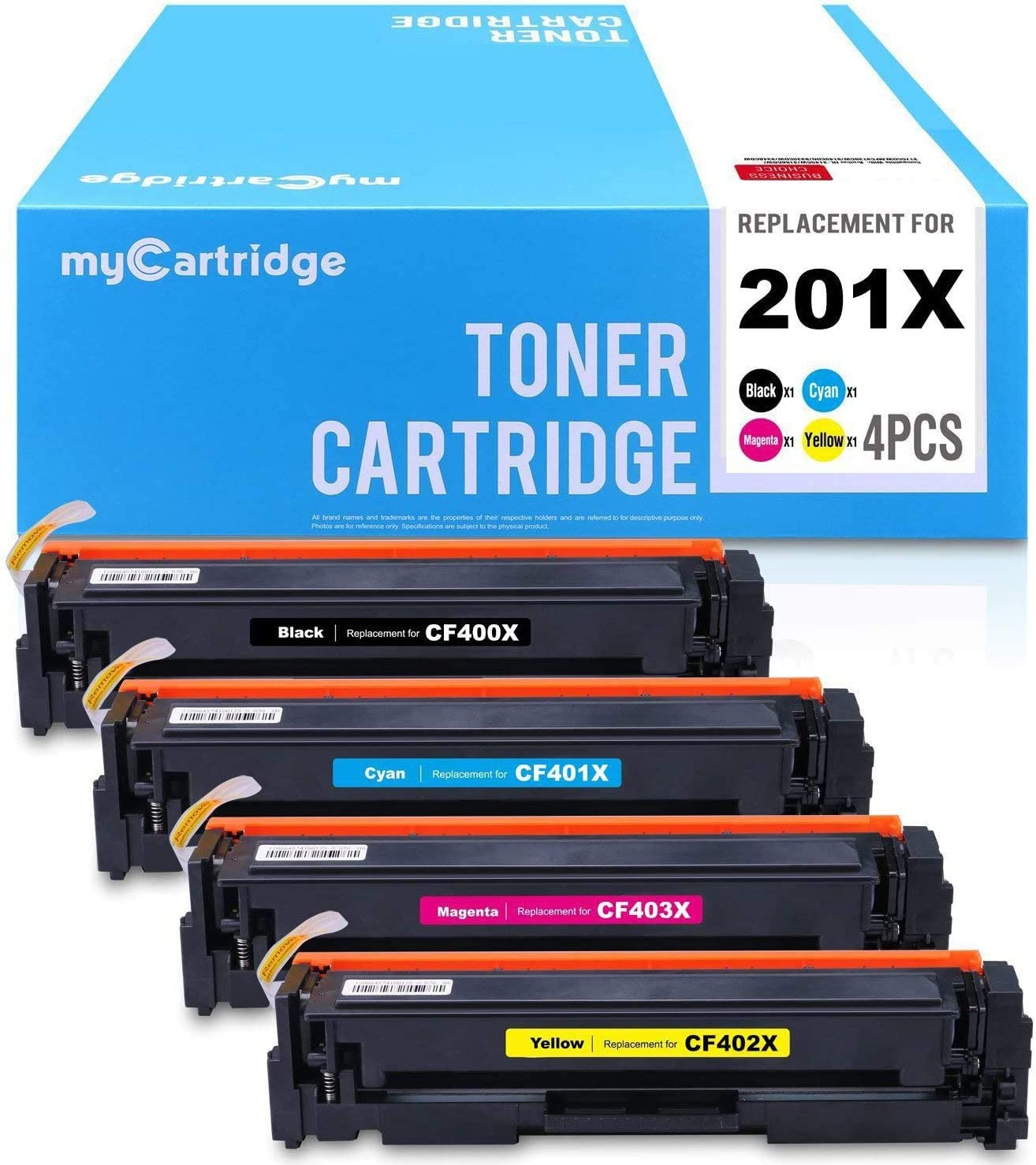 myCartridge Compatible Toner Cartridge Replacement for HP 201X CF400X CF401X CF402X CF403X (1 Black 1 Cyan 1 Yellow 1 Magenta, 4-Pack)