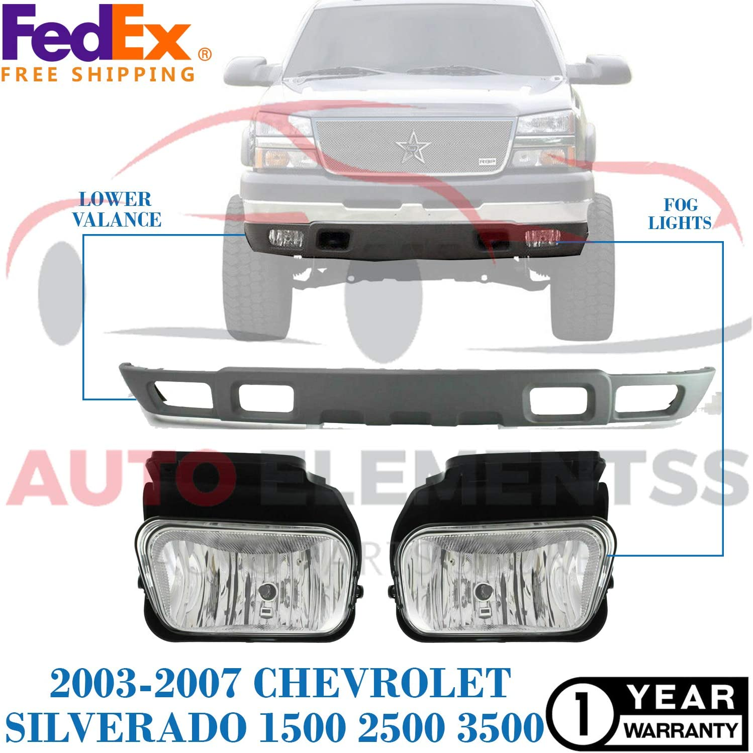GM2592150 New Front Lower Valance for 2003-2007 Chevrolet Silverado 1500 2500 3500 Hybrid Extended//LS//LT Crew Cab Pickup Direct Replacement with Fog Lights GM1092204 GM2593150.