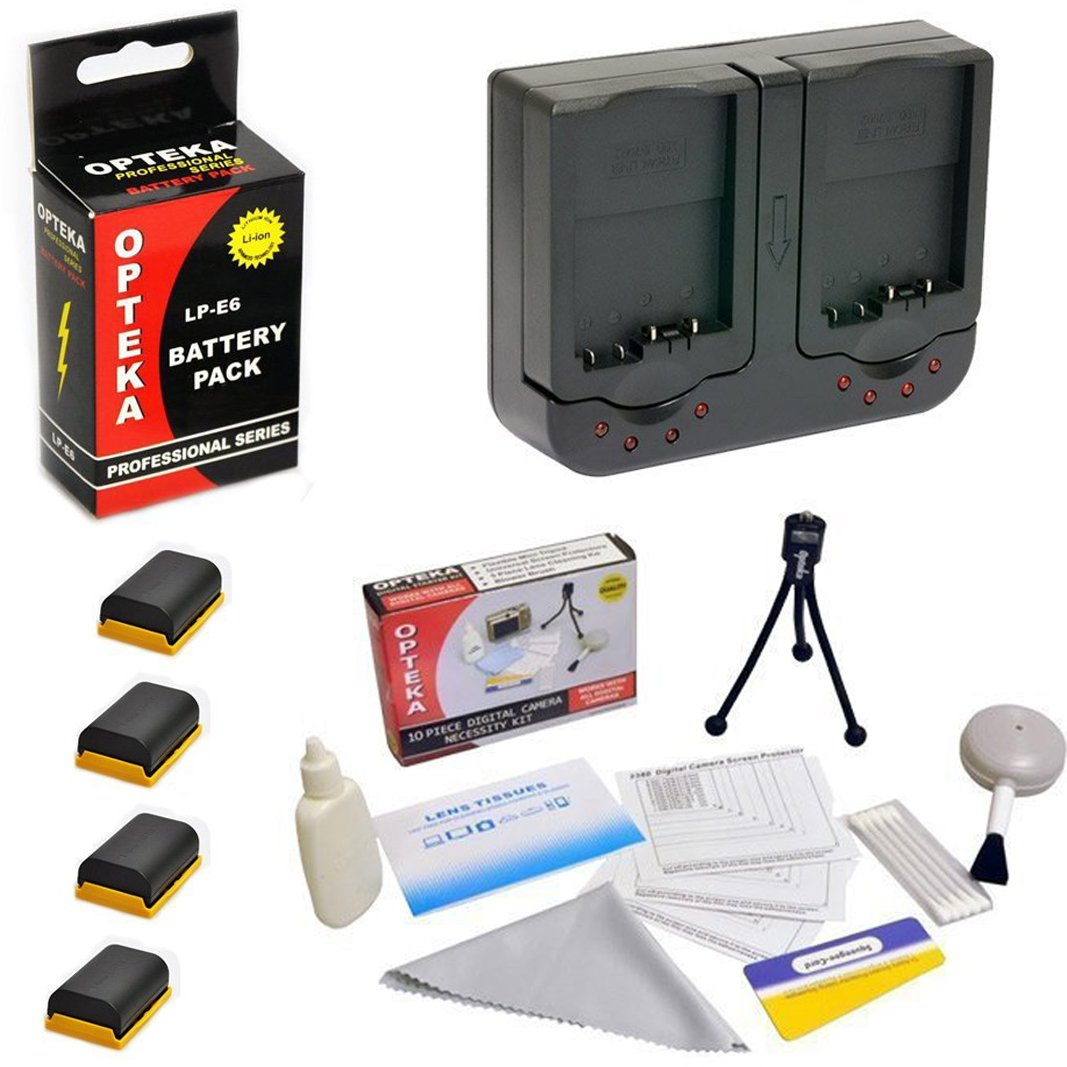 4 Extended Life Replacement Battery Packs For the Canon LP-E6 LPE6 1750MAH Each 7000MAH in Total For Canon EOS 5D Mark 2 3 II III 5DM2 5DM3 6D 7D 60D 60Da 70D DSLR Digital Camera 4 Batteries In Total + 1 hour AC/DC Dual Battery Rapid Charger + Deluxe Lens