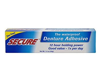 Secure Denture Adhesive >> Secure Waterproof Denture Adhesive Zinc Free Extra Strong Hold For Upper Lower Or Partials 1 4 Oz Pack Of 4