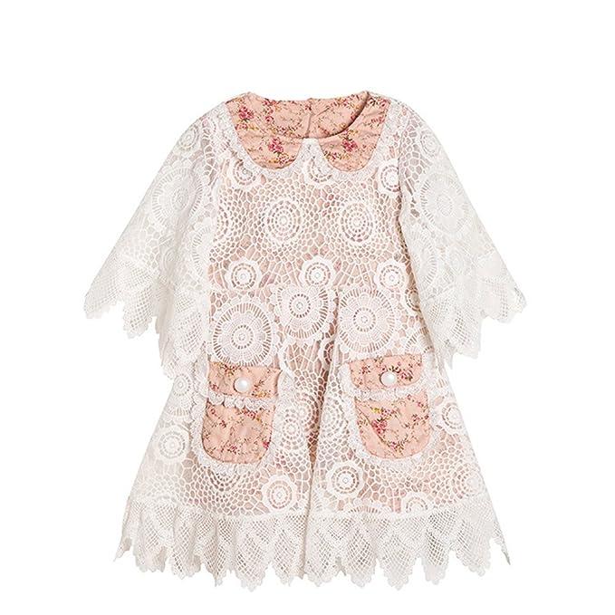79d2bb1083d Amazon.com  Princess Girls Flower Ruffles Lace Party Dress with Bell ...
