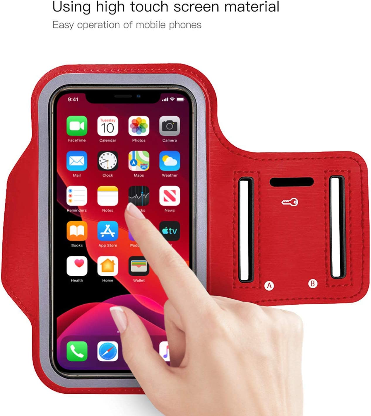 Sovica Brassard de Sport Compatible avec iPhone 11 Pro Max Running en n/éopr/ène r/églable Velcro Anti-Transpiration antid/érapant Poche pour /écouteurs cl/és