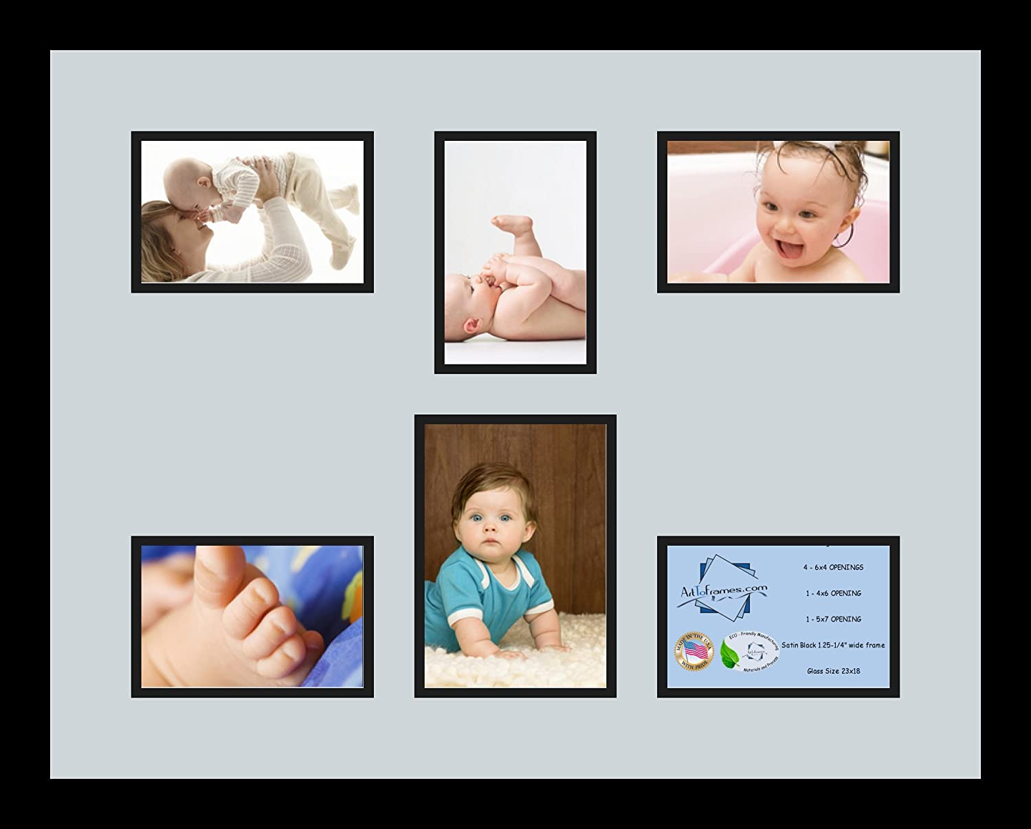 Art to Frames Double-Multimat-366-860//89-FRBW26079 Collage Photo Frame Double Mat with 1-5x7 and 5-4x6 Openings and Satin Black Frame