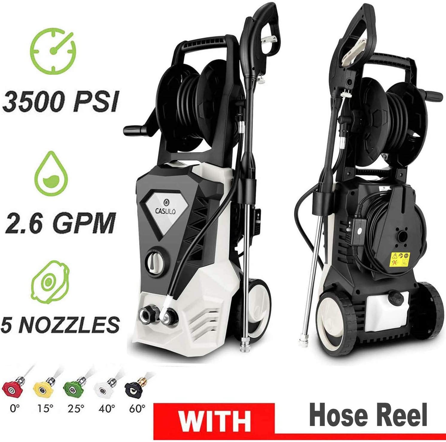 Wesoky Electric Pressure Washer Max 3500PSI 2.6GPM with Hose Reel, 1800W Power Washer Machine, High Pressure Car Patio Garden Yard Cleaner with 5 Adjustable Nozzle, Spray Gun & 10m Hose (US Stock)