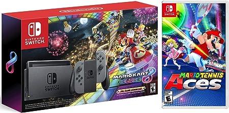 Nintendo Switch con Gray Joy-Con + Mario Kart 8 Deluxe (descarga completa del juego) + juego de Mario Tennis Aces: Amazon.es: Informática