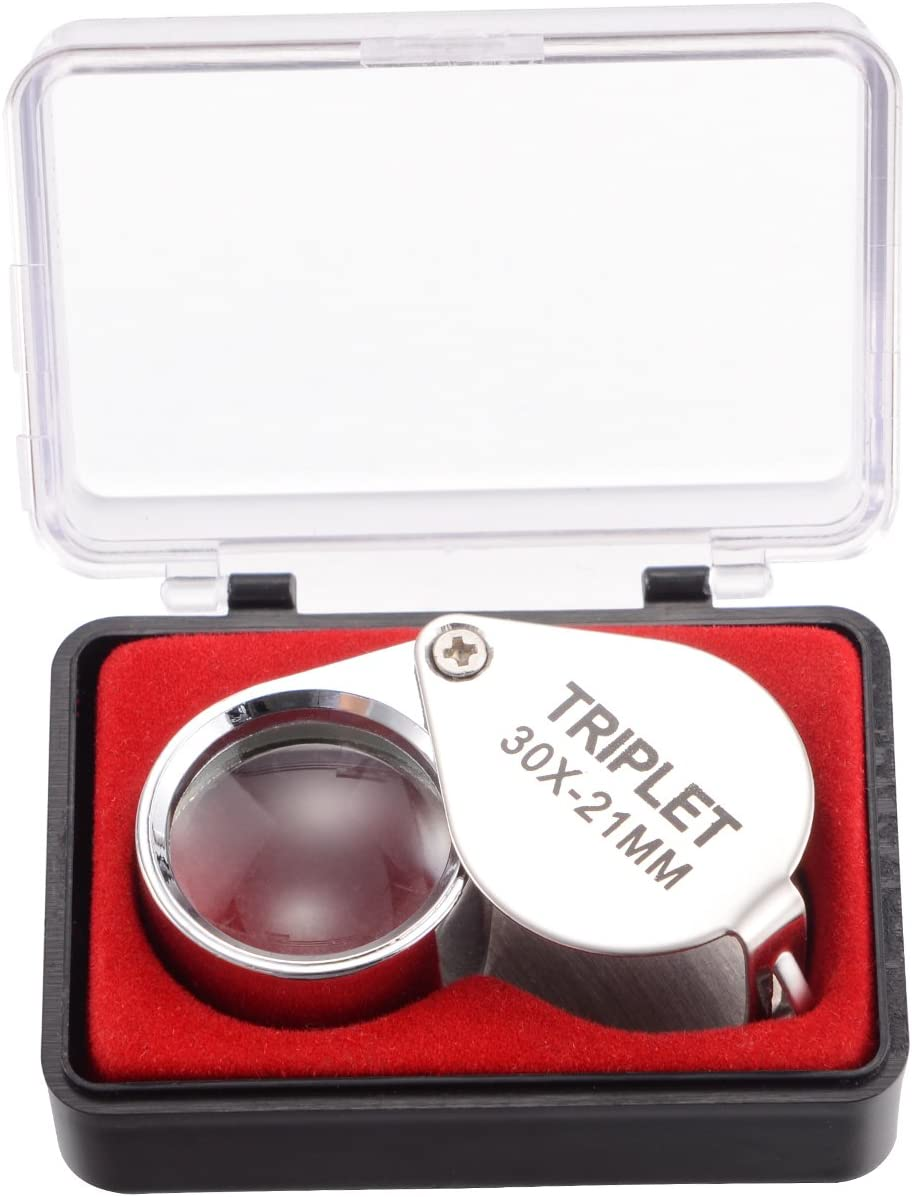 Coins Stamps etc tm-home 30X Full Metal Folding Pocket Magnifying Glass Jewelers Lens Eye Loupe for Jewelry