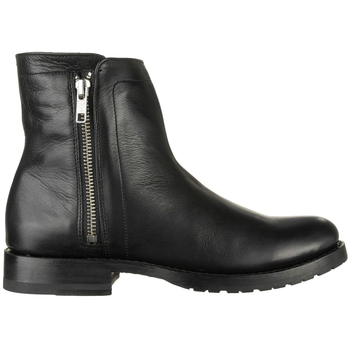 FRYE Women's Natalie Double Zip Boot, Black Polished Soft Full Grain, 8 M US