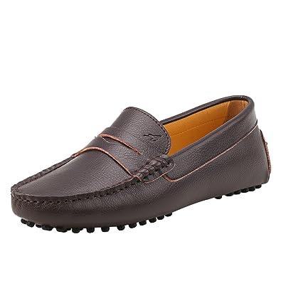 3628bd68ed Shenduo Damen Driving Mokassin Leder Schuhe Casual Slipper Sommer  Halbschuhe Freizeit D7052 Braun 36