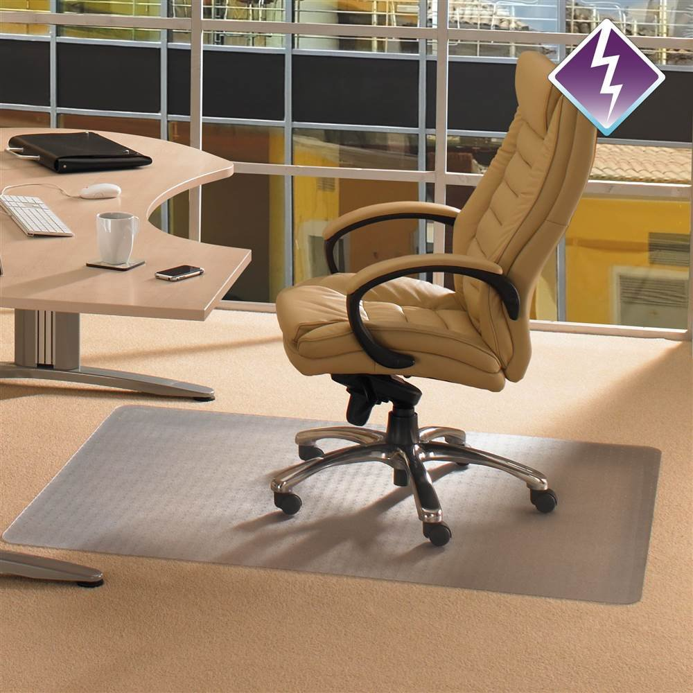 Computex Anti-Static Advantagemat, PVC Chair Mat, for Carpets 3/8'' or Less, Rectangular with Lip, 48'' x 60'' (FR3115226EV)