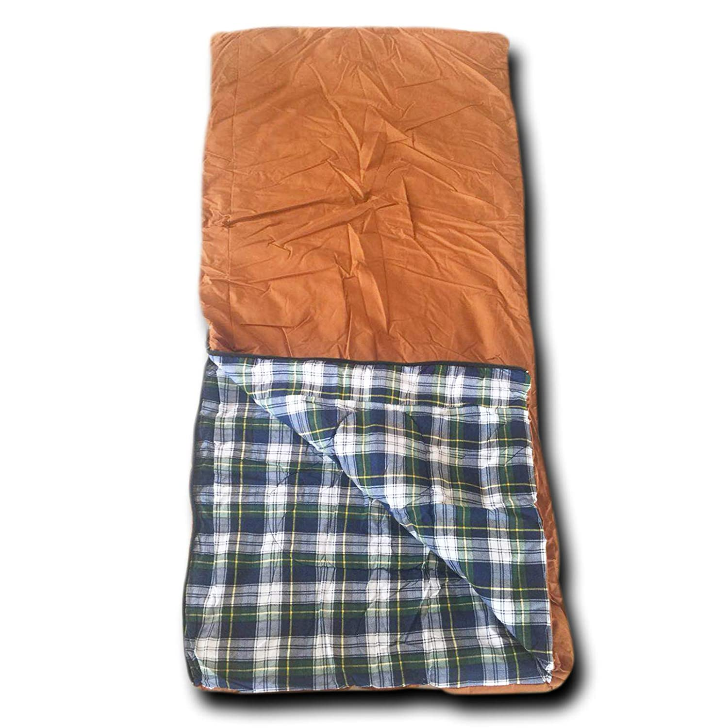 Wolftraders 20-Degree Fahrenheit Cotton Canvas Classic Envelope Style Square Sleeping Bag with Flannel Lining
