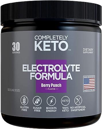 Completely Keto Electrolyte Formula – Keto Electrolytes - Keto Supplement to Prevent 'Keto Flu' – Sugar Free Electrolyte Powder Drink Mix, Berry Punch Flavor
