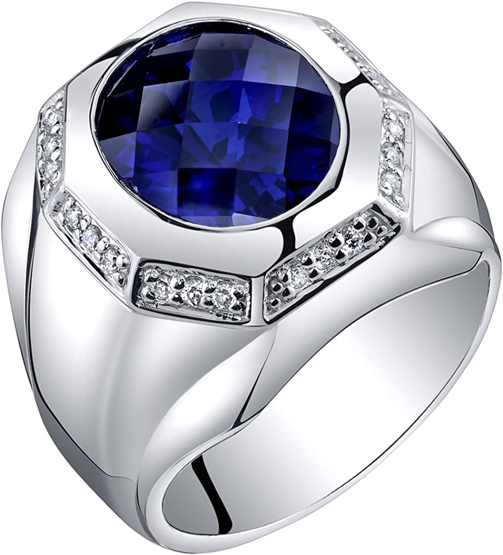 Mens 6 Carats Created Sapphire Octagon Ring Steriling Silver Sizes 8 to 13