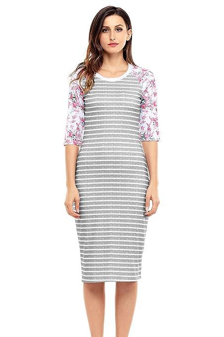 Vestido mediano, diseño de rayas de color blanco y gris, manga floral, vestido