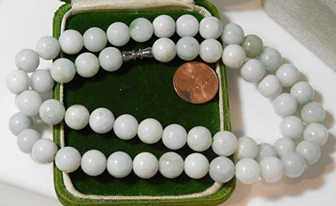 Certified White Jade necklace with green jade bead Tilda