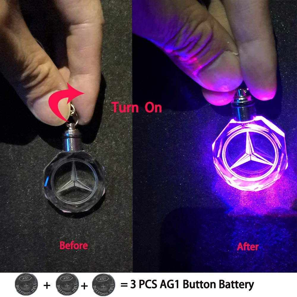 VILLSION LED Auto-Logo Schl/üsselanh/änger Emblem Keychain Mehrfarbig Kristall Licht Umfassen Geschenkbox