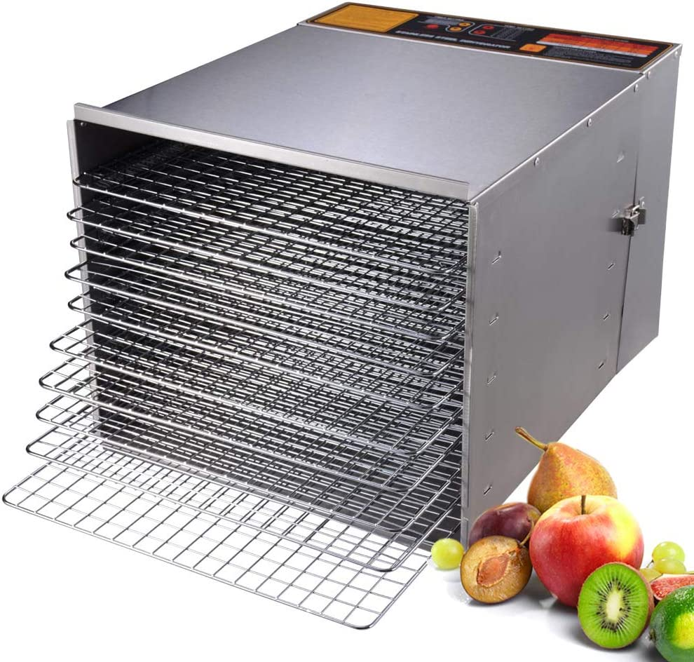WeChef Commercial 10 Tray Electric Stainless Steel Digital Food Jerky Fruit Food Dehydrator Maker 15 Hour Timer 1200W