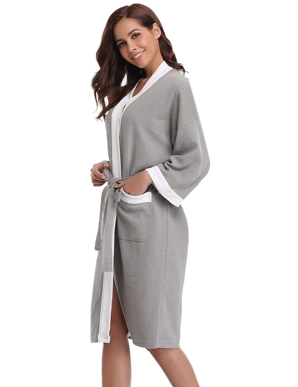 107dc321da Aibrou Unisex Waffle Dressing Gown Cotton Lightweight Bath Robe for All  Seasons Spa Hotel Pool Sleepwear