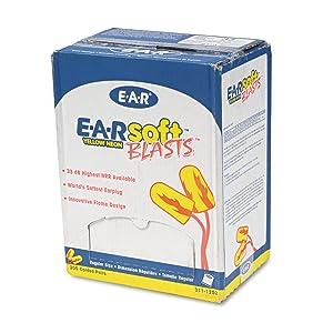 3M E-A-R Earsoft Corded Earplugs, Neon Yellow, 200-Pair