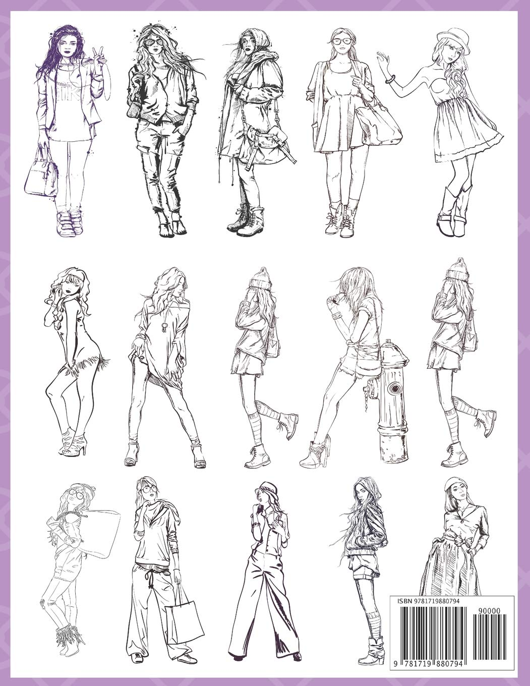 Fashion Coloring Book 100 Pages With 20 Different Fashion Templates