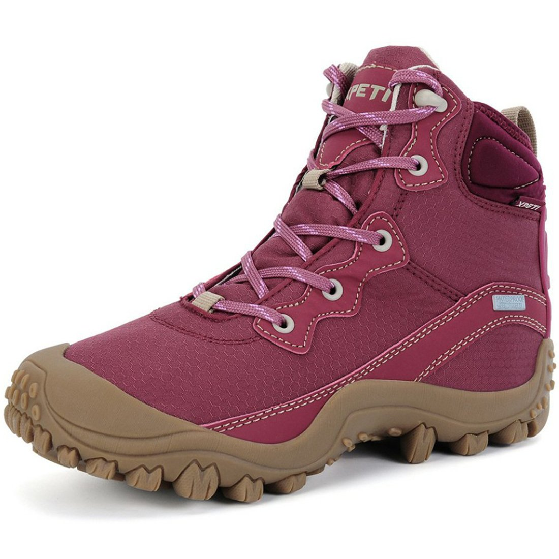 XPETI Women's Dimo Mid Waterproof Hiking Outdoor Boot Red Wine 10