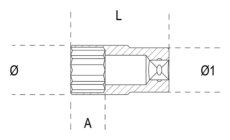 Beta 009000319-900As-L 9//16-Ll Tipo Largo Hexagonal