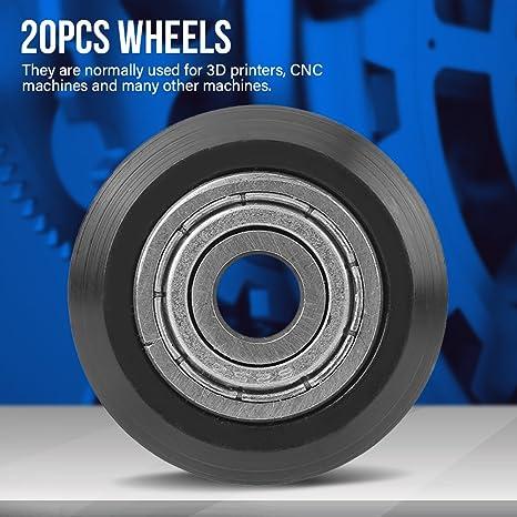 20pcs Guide de Rainure en V Roulement Poulie 5mm Bore 625 Roulement Poulie Accessoires Double Roulement Porte Coulissante pour CNC 3D Imprimante