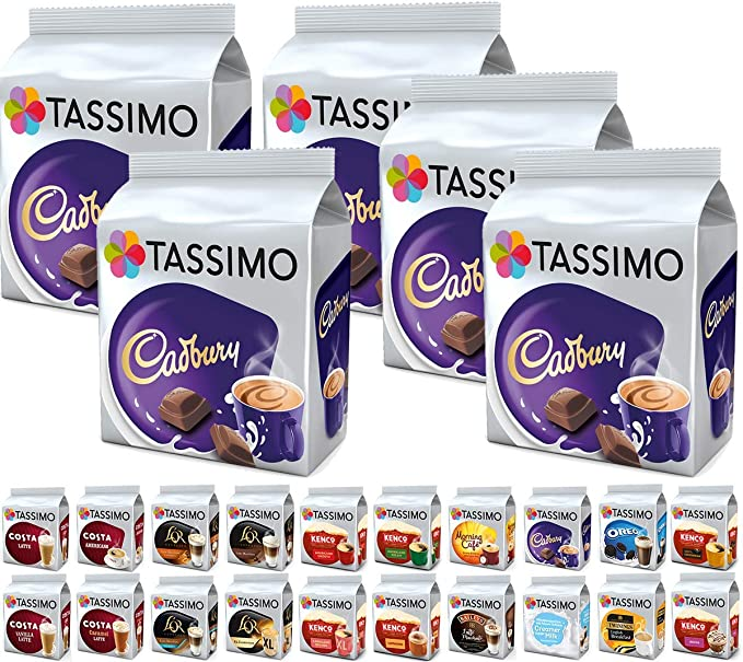 Tassimo Pods Pack Of 5 Cadbury Hot Chocolate Flexible Bundle Coffee Pod Refill Capsules T Discs 40 Servings