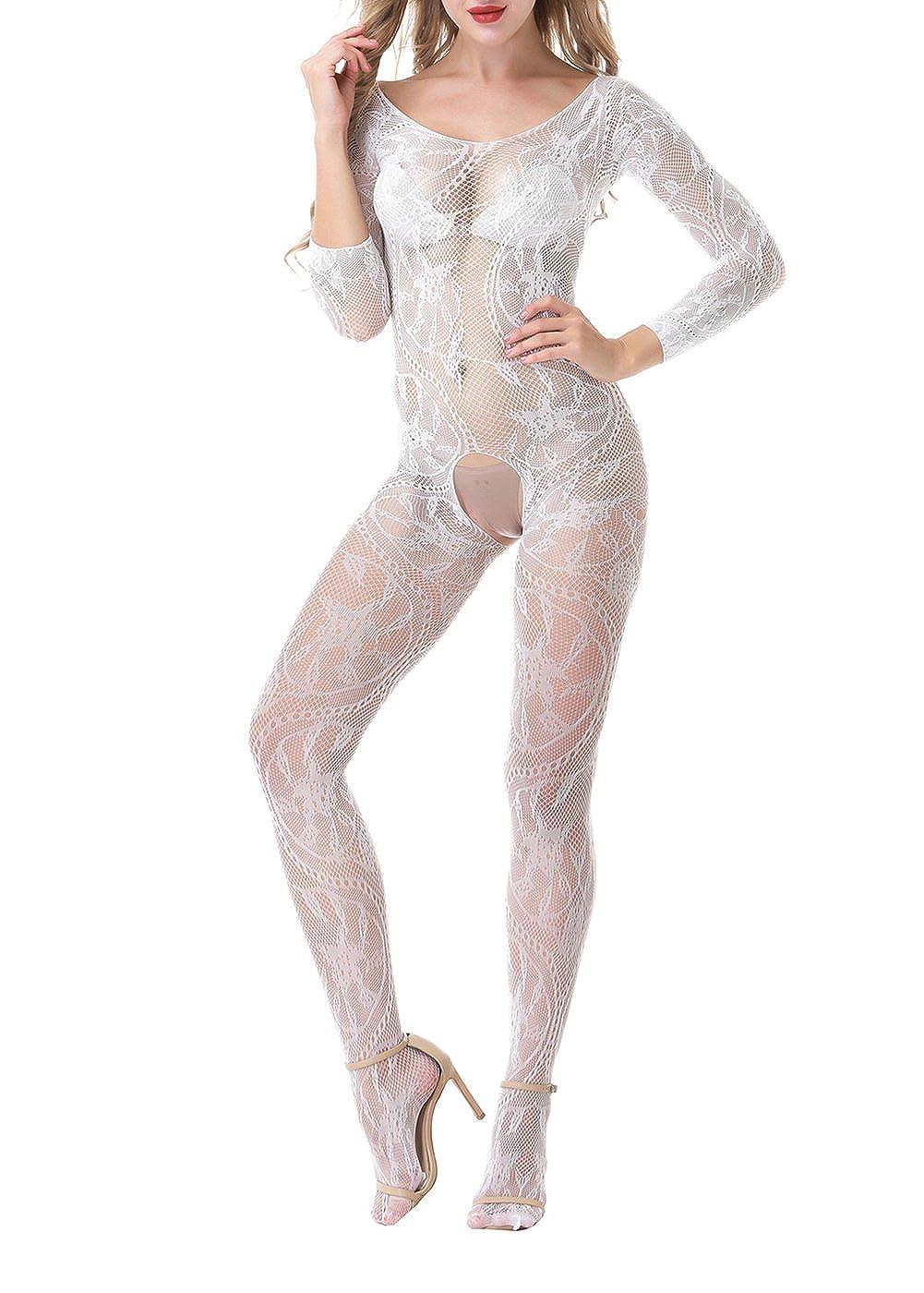 Yuanlar Womens Fishnet Crotchless Bodystocking Long Sleeve Bodysuit Nightwear