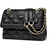 LAORENTOU Women's Leather Shoulder Bags Cowhide Quilted Handbags for Women Satchel Crossbody Bags with Chain Strap Purse
