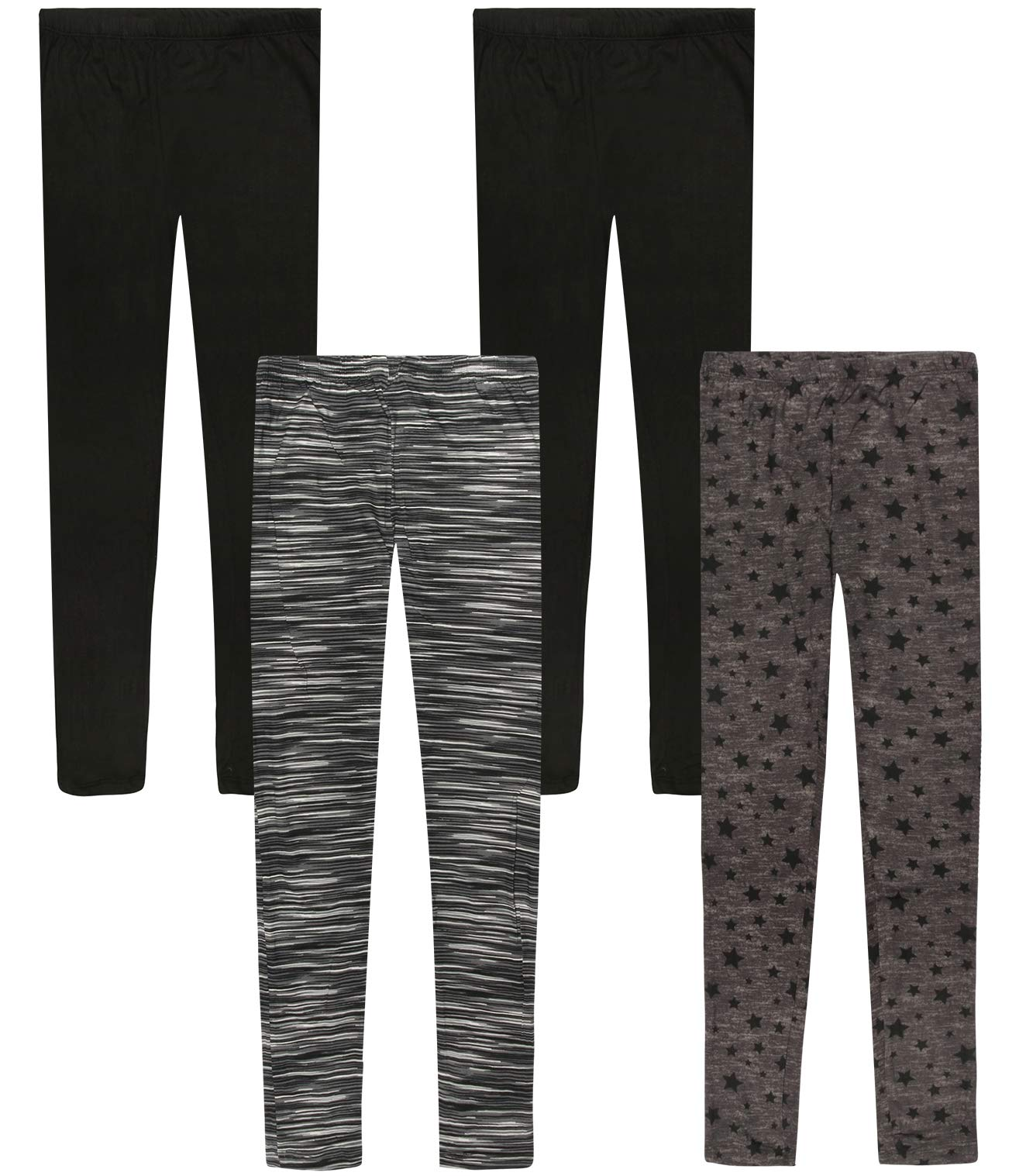 Only Girls Butter-Soft-Touch Printed Yummy Leggings (4-Pack) (Space Dye/Charcoal Stars, 12)'