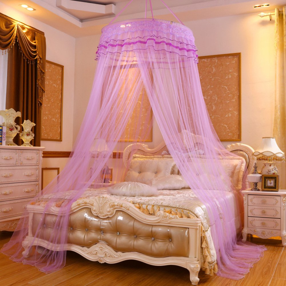 Lustar Princess Lace Mosquito Net Bed Canopy for Children Fly Insect Protection Indoor Decorative Height 2.8m Top Diameter 0.6-1m,Purpleb