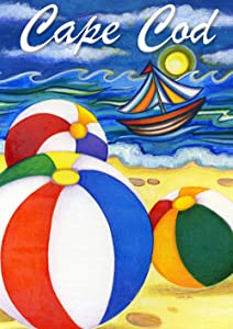 Toland Home Garden Beach Balls Cape Cod 12.5 x 18 Inch Decorative Regional Massachusetts Summer Sail Boat Garden Flag