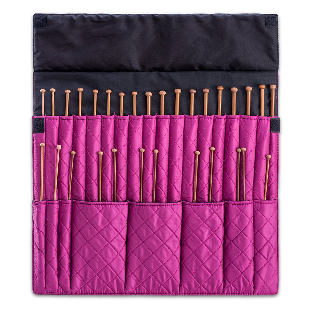 DeNOA Knitting Needle Storage Case - Crochet Hook Folding Organizer Travel Wrap - Slate