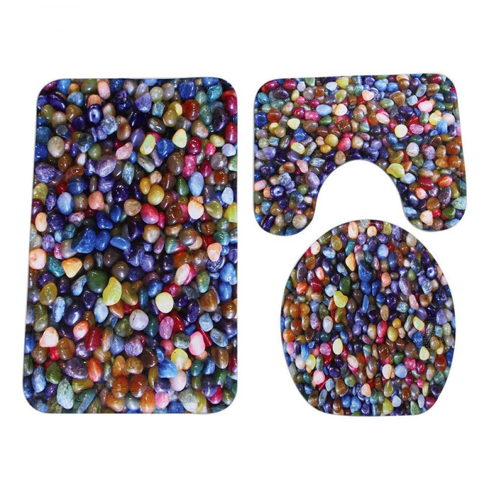 GMYANMTD 3 Stücke Moderne Bunte Kopfsteinpflaster Anti-rutsch-wc Teppich Teppich Teppich Bad Mat   Korallen Samt Wc-matten DREI Sätze von Badematte B07HF99JPR Duschmatten 57e244