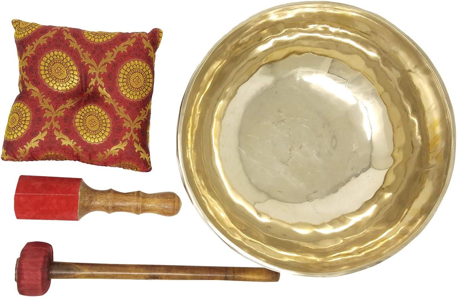 CRAFTSTRIBE 11Taz/ón de fuente hecho a mano de la corona Chatra Taz/ón de fuente de meditaci/ón de cuenco tibetano con mazo y coj/ín de seda