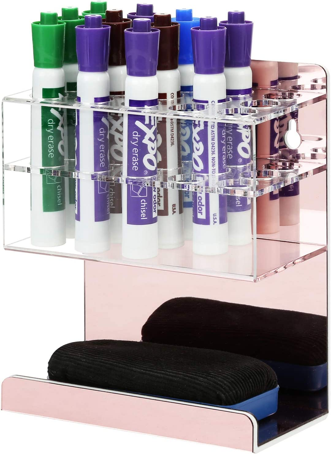 MyGift Wall Mounted 2-Tier Rose Gold Acrylic 15-Slot Dry Erase Whiteboard Marker and Eraser Storage Holder Stand, Home Office Accessories