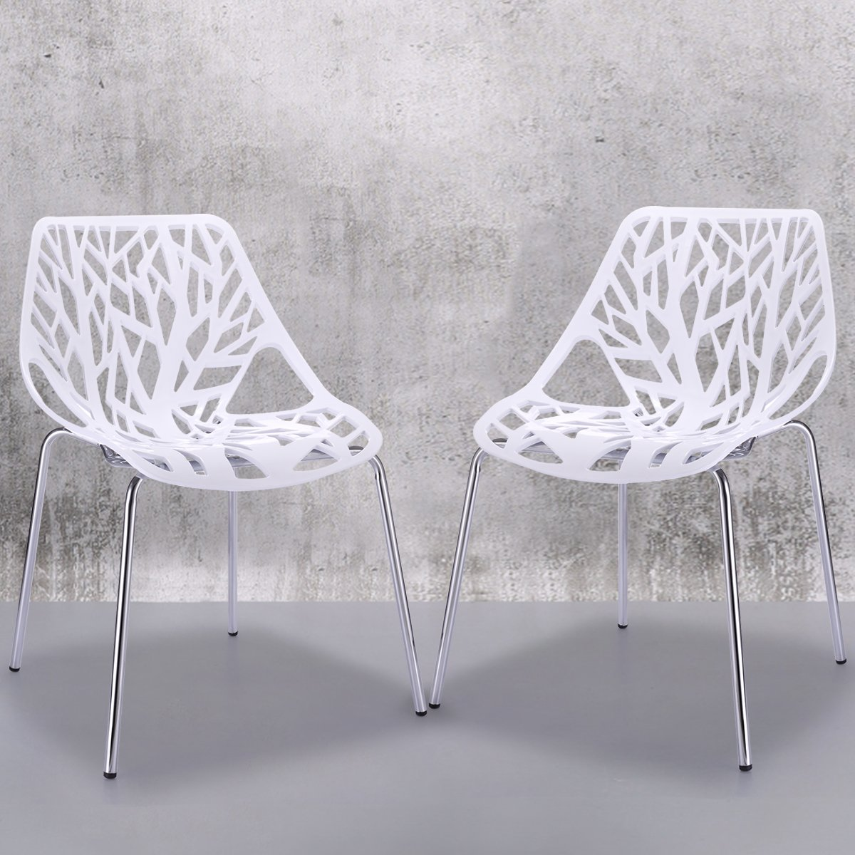 JAXPETY White Birds Nest Dining Side Chair, Set of 4