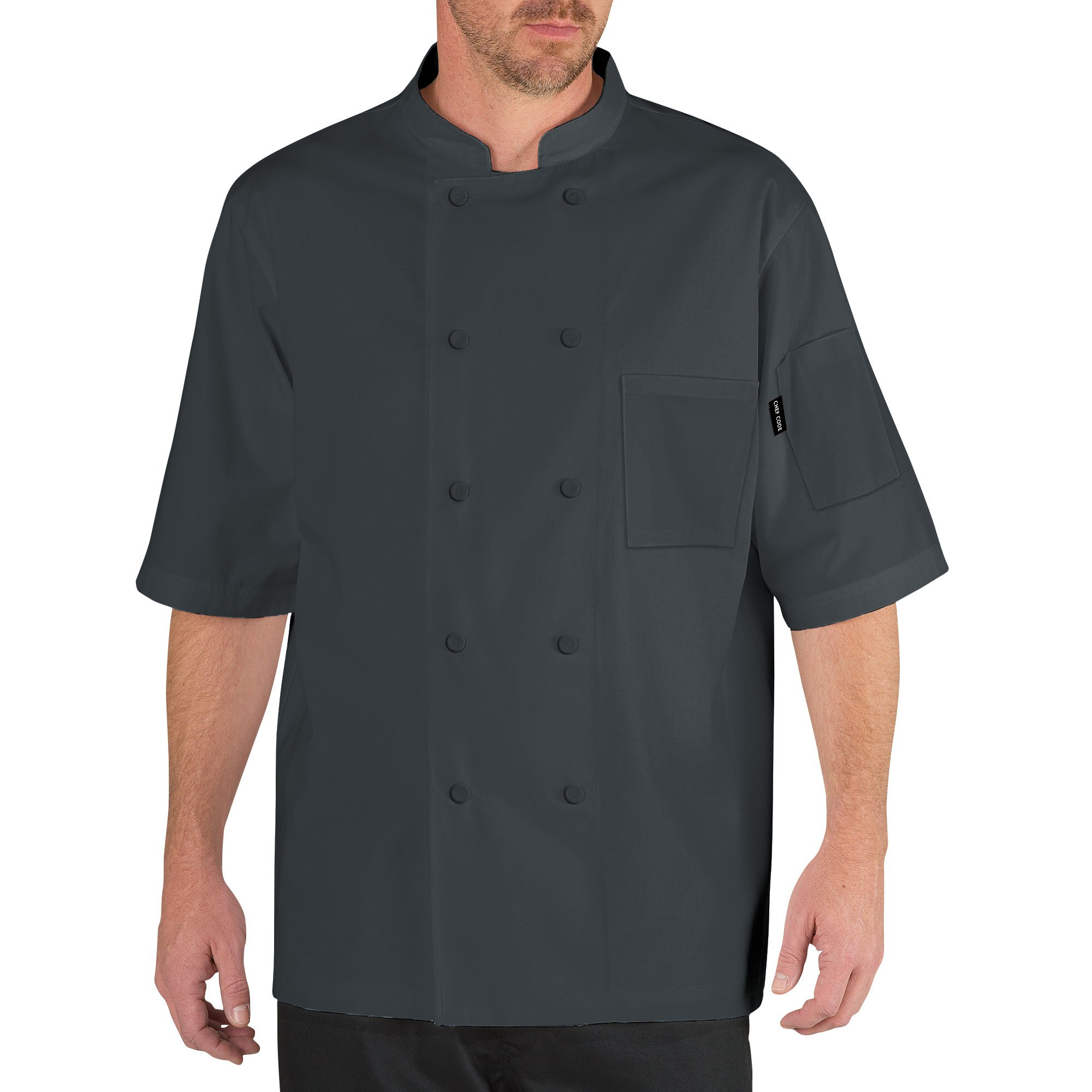 Chef Code Cool Breeze Chef Coat with Short-Sleeves and Mesh Vent Inlay CC105 (L, Charcoal)