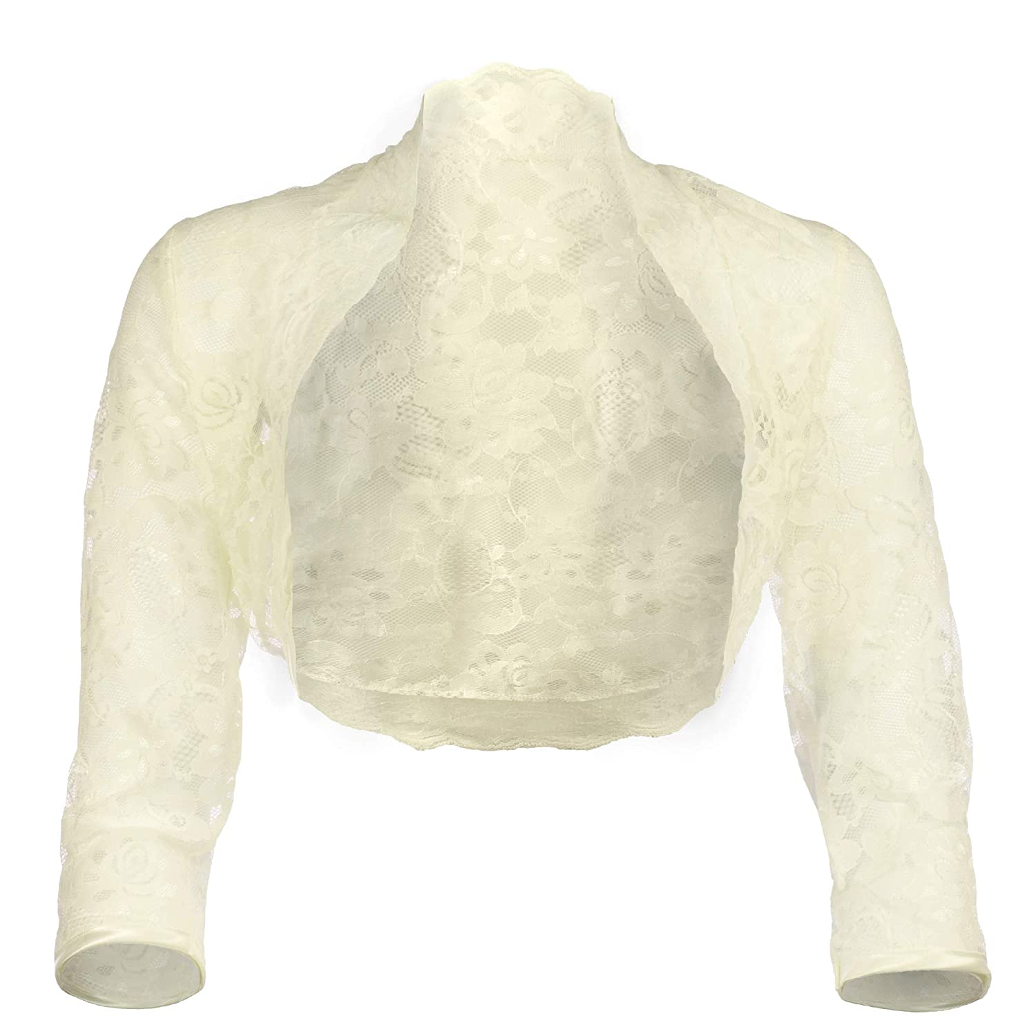 9c6f727c2b8c Grace & Flair Ladies Ivory Lace Bolero ¾ Sleeve Sizes 6-28 Women Shrugs