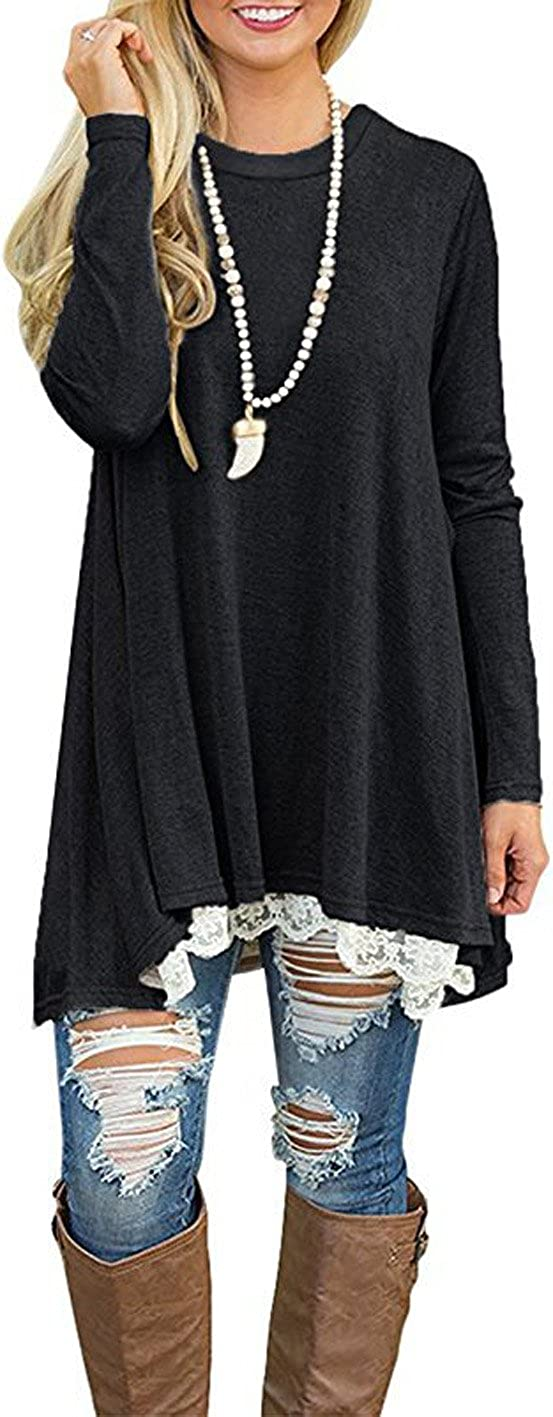 Womens Lace Tunic Top Sweatshirt Long Sleeve Blouse A-Line Flowy T-Shirt Dress