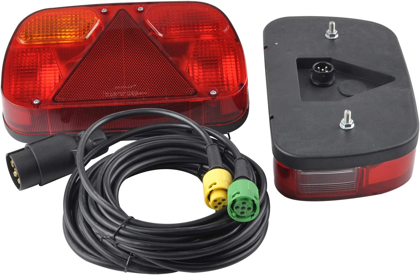 JIAHUI Trailer Tail Lights Kit Truck Rear Lamp Indicator Lighting Wiring Kit with 13 Pin Plug Connected with 2pcs 5m Long 5 Core Cable Suitable for Trailer Lorry Caravan or Truck