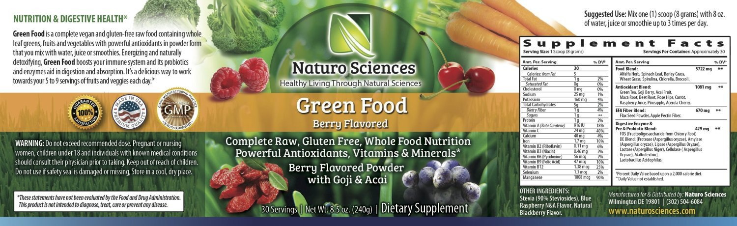 Natural Greens Food By Naturo Sciences - Complete Raw Whole Green Food Nutrition with Super Powerful Antioxidants, Vitamins, Minerals - Amazing Berry Flavor 8.5oz (240g) 30 Servings, Pack of Three