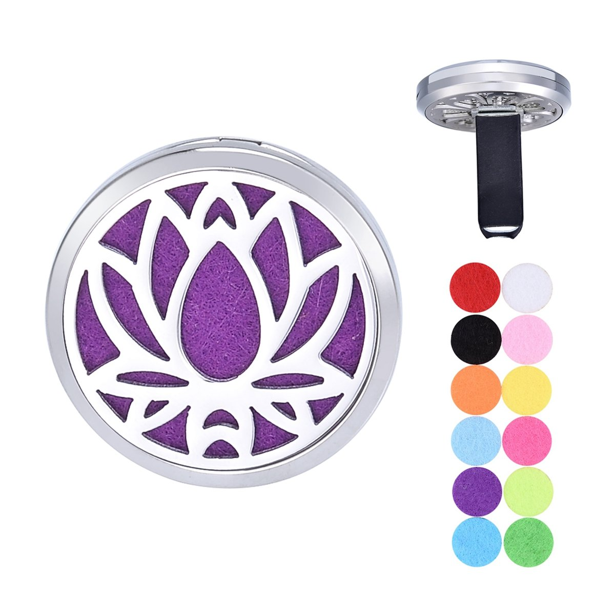 Chrysanthemum Car Air Freshener Aromatherapy Essential Oil Diffuser Vent Clip Stainless Steel Locket 12 Felt Pads Supreme glory