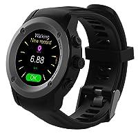 Orologio GPS Multi-sport Corsa Orologi con Cardiofrequenzimetro e Notifiche Smart Smart Watch Compatibile iOS 8.0 e Android 4.4 e Superiori ,2 - 3 Giorni in Standby Stazione di Ricarica (nero)