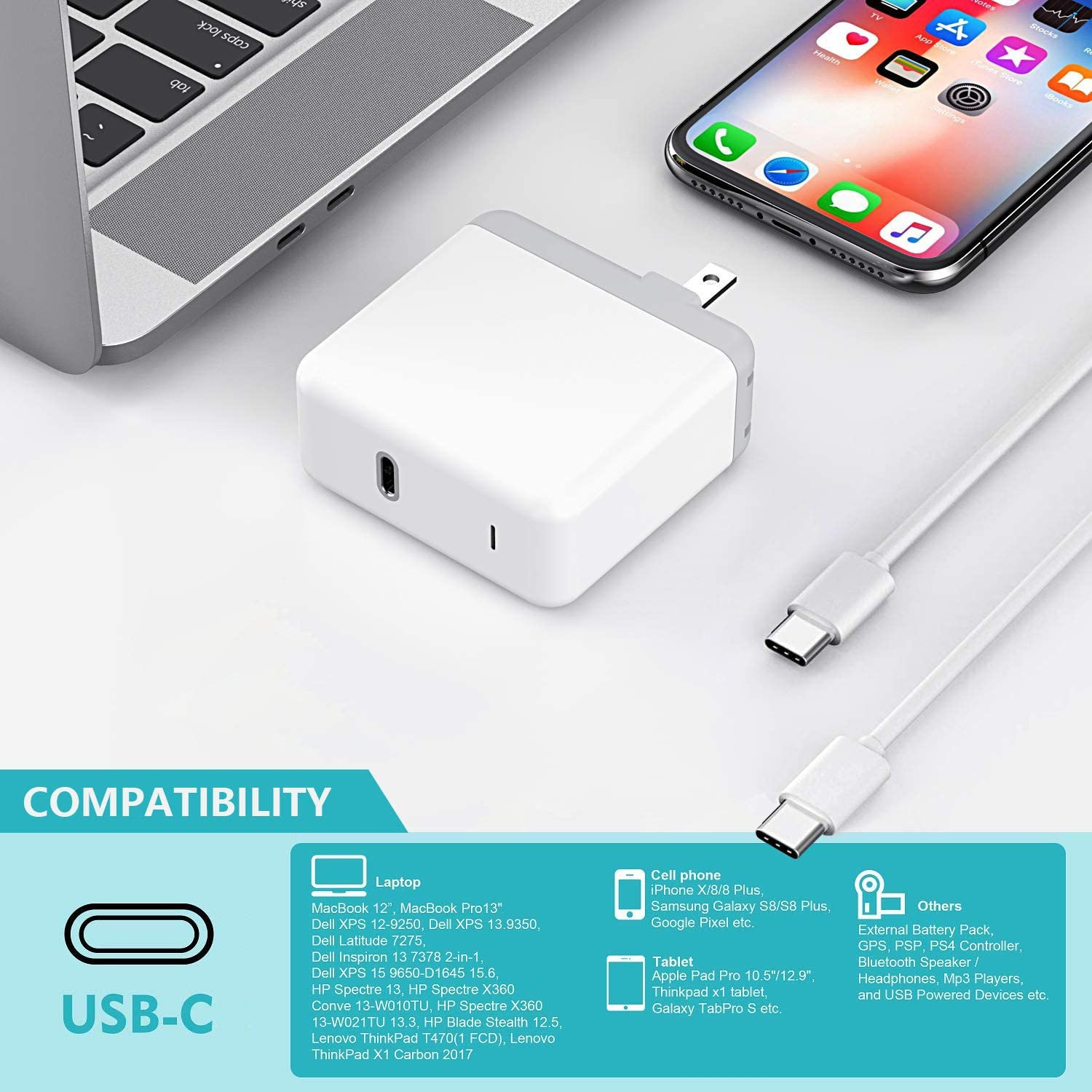 Galaxy S10 MacBook Pro USB C Charger for 2018 iPad Pro 12.9 S9 45W Thunderbolt 3 Port USB C Power Adapter with 3.3ft USB C-C Cable MacBook Air MacBook 12 inch