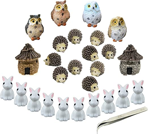 NiCWhite - Juego de 26 adornos en miniatura para jardín, diseño de hadas, accesorios para decoración de macetas, casa de muñecas, con 1 pinza: Amazon.es: Hogar