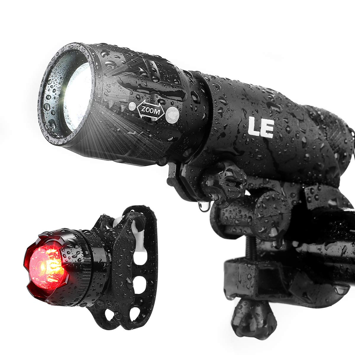 LE LED Bike Light Set, Zoomable Bicycle Headlight, Cycling Taillight, 200lm, 3 Lighting Modes, Front Rear Light Set, AAA Batteries Included
