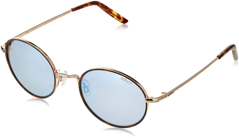 Revo Unisex RE 1060 Brayton Round Polarized UV Protection Sunglasses Blue Water Lens Revo Sunglasses Gold Frame